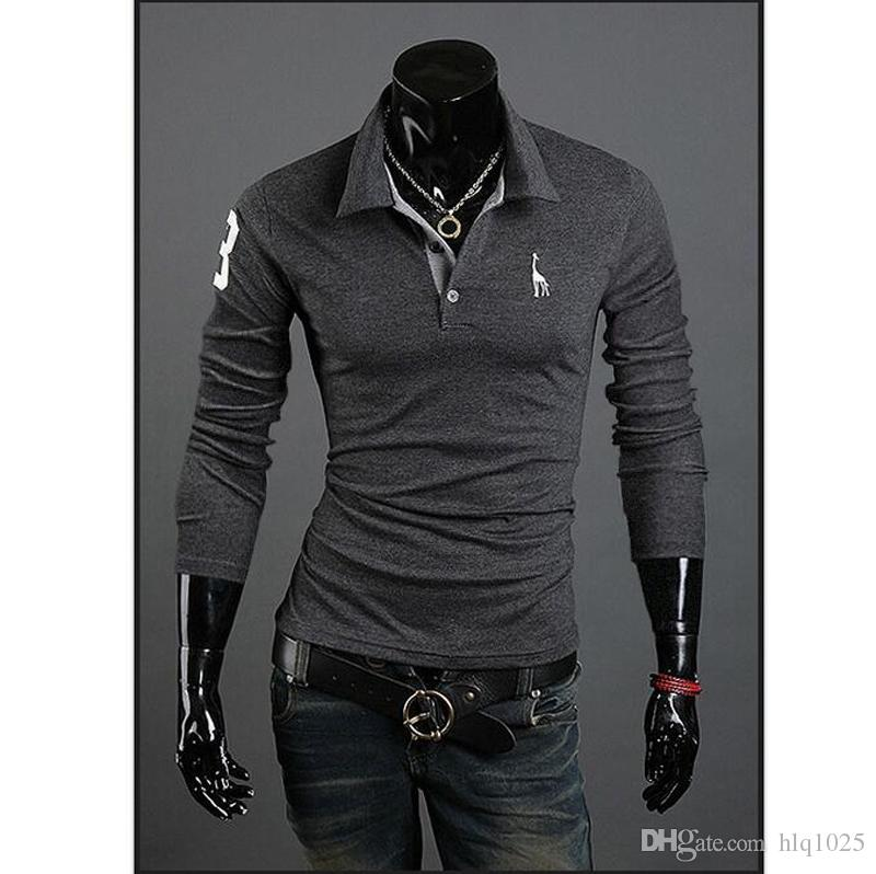 Fashion Polo Shirt For Men Fawn Embroidery Luxury Casual Slim Fit Stylish T Shirt With Long Sleeve