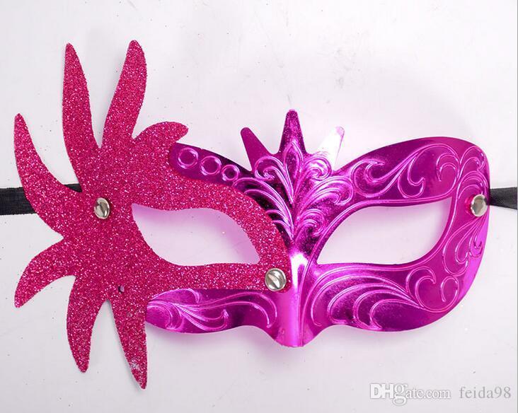 Maschera veneziana maschere laterali fiori dipinti polvere oro piccola corona principessa bellezza maschera halloween G600