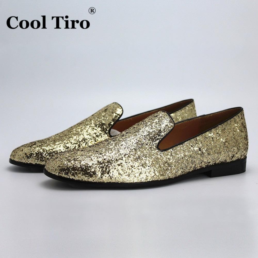 Men's Flat Glossy Sequin Slip On Loafer Shoes (9 US Golden)