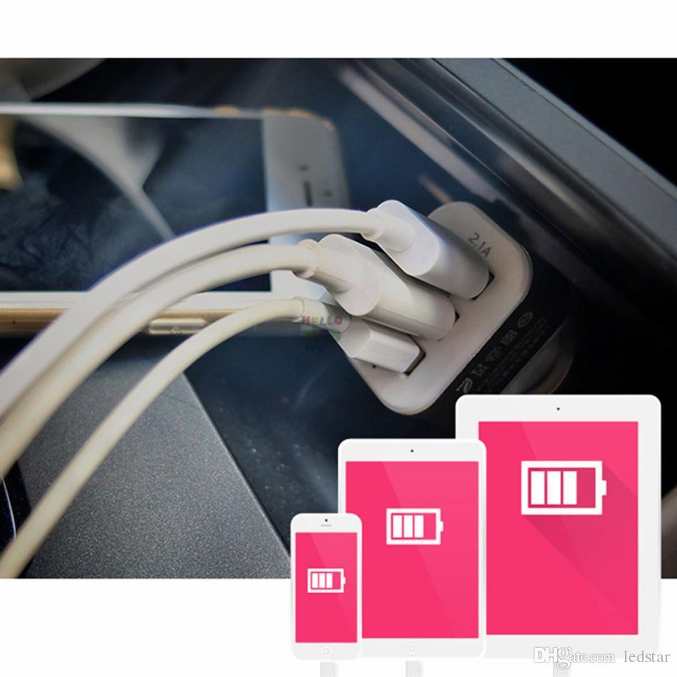 Carregadores de carro usb universal 3 portas para iphone 8 samsung s7 edge carro-carregador adaptador soquete car styling usb carregador para o carro-styling