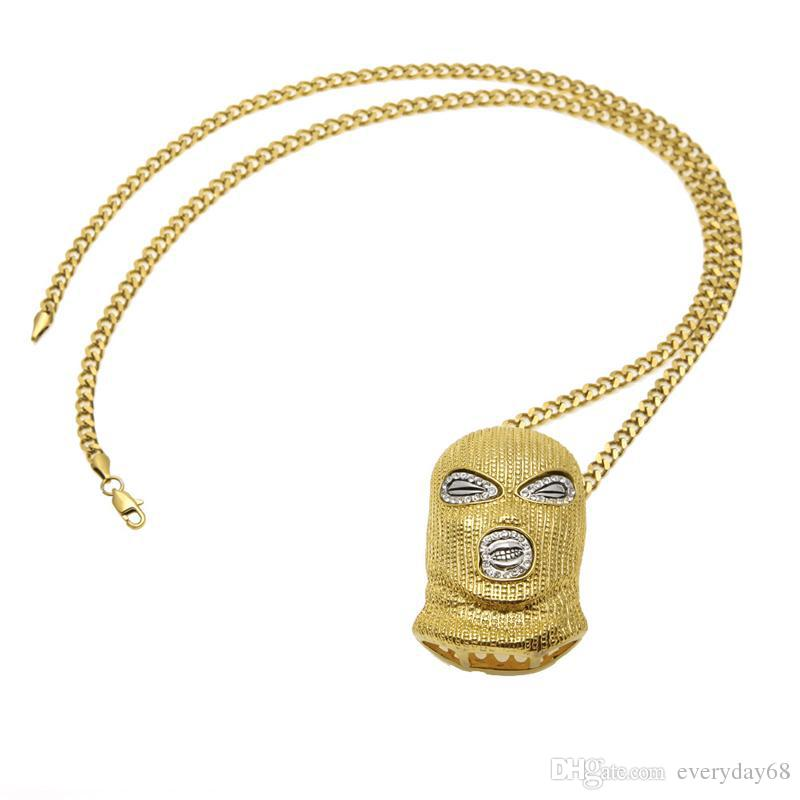 Hip Hop CSGO Pendant Necklace Mens Punk Style Alloy Gold Silver Plated Mask Head Charm Pendant Cuban Chain