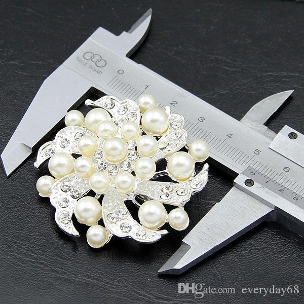 Elegant Bridal Jewelry Pearl Silver Tone Flower Brooch Pins Rhinestone Crystal Women Party Decor Costume Corsage