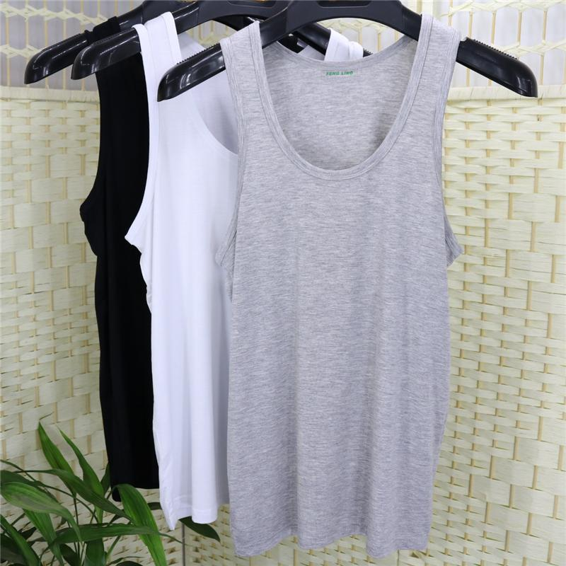 In summer, no trace of bamboo charcoal fiber underwear vest with a thin section of loose mast modal cotton vest rendering code