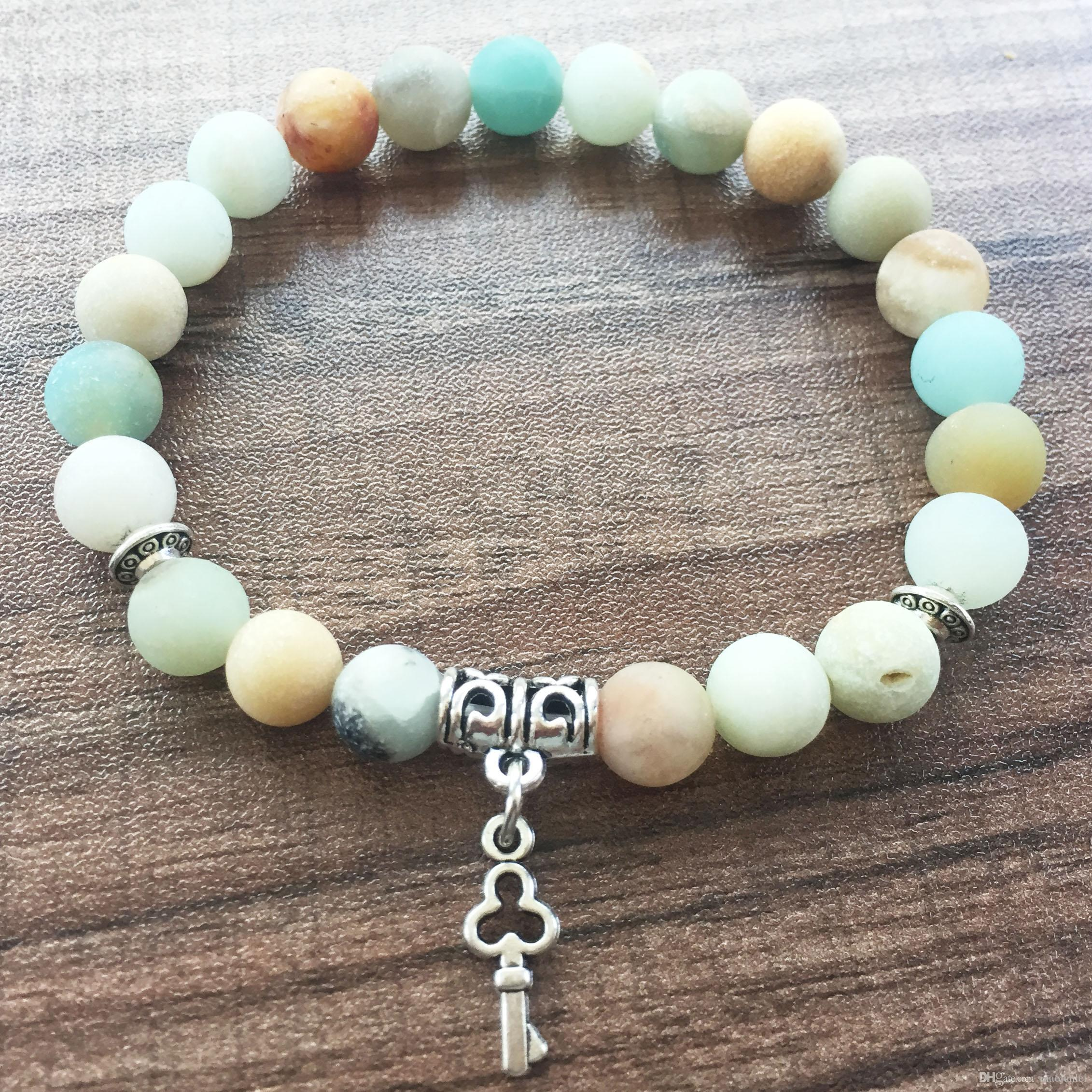 Mala Beads Bracelets Natural Stone Round Bead Bracelet 8MM Matte Amazonite Bracelet love Key pendant Yoga Prayer Bracelets