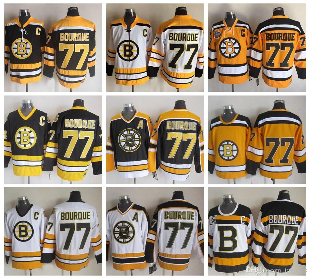 c403a4911 2019 Boston Bruins Ray Bourque Hockey Jerseys 1992 CCM Vintage 77 Ray  Bourque Jersey 75th Anniversary Cheap Stitched C Patch From Tryones