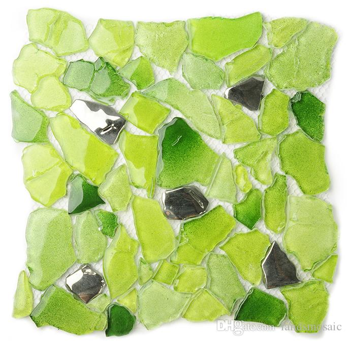 2017 2017 new!! irregular glass mosaic tiles, gradient green