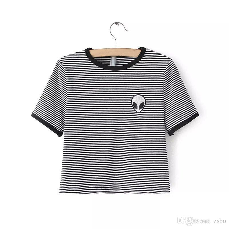 Kadınlar için fashon Alien T Shirt Gevşek fit t-shirt Kısa Kollu Tee Gömlek Casual Crop Top min tshirt NV10 RF