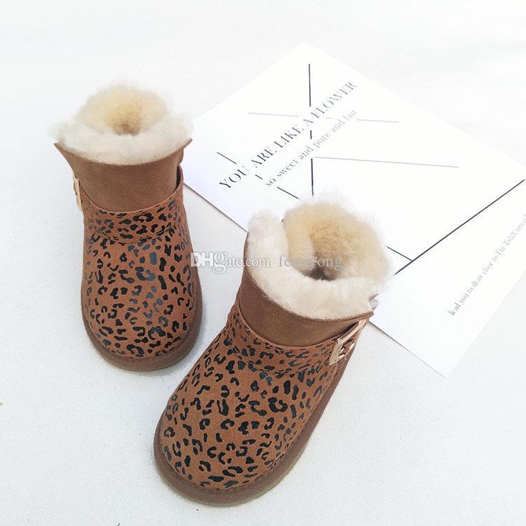 2017 neue Herbst und Winter Jungen und Mädchen Schuhe 100% glänzendes Fell ein Kind Schneeschuhe Schneeschuhe rutschfeste Sehne am Ende der warmen verdickt