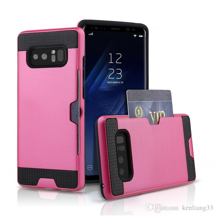 premium selection 5dab8 df2cc For Samsung Note 8 shockproof pc cube card holder phone case for samsung  note 8 case