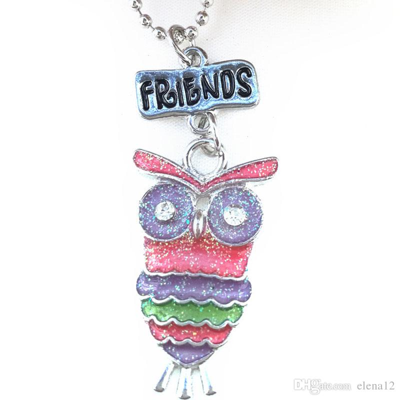 Best Friends Forever BFF pendant charm beaded chain multi mix colorful epoxy glitter glass kids cute lovely owl necklace set 161914