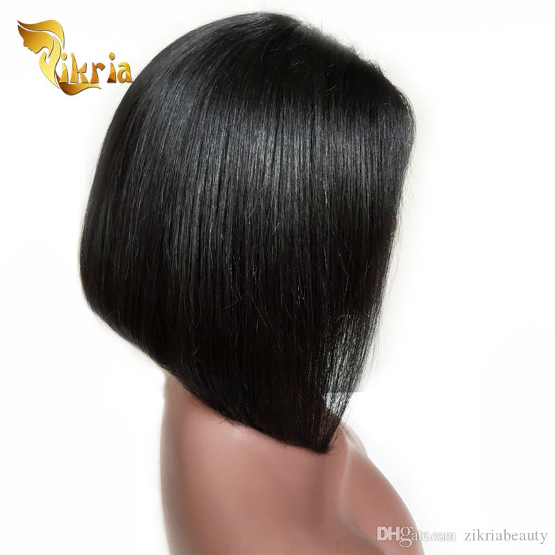 Short Bob Style Malaysian Peruvian Lace Front Human Hair Wig Unprocessed Brazilian Virgin Hair Glueless Full Lace Wig With Baby Hair