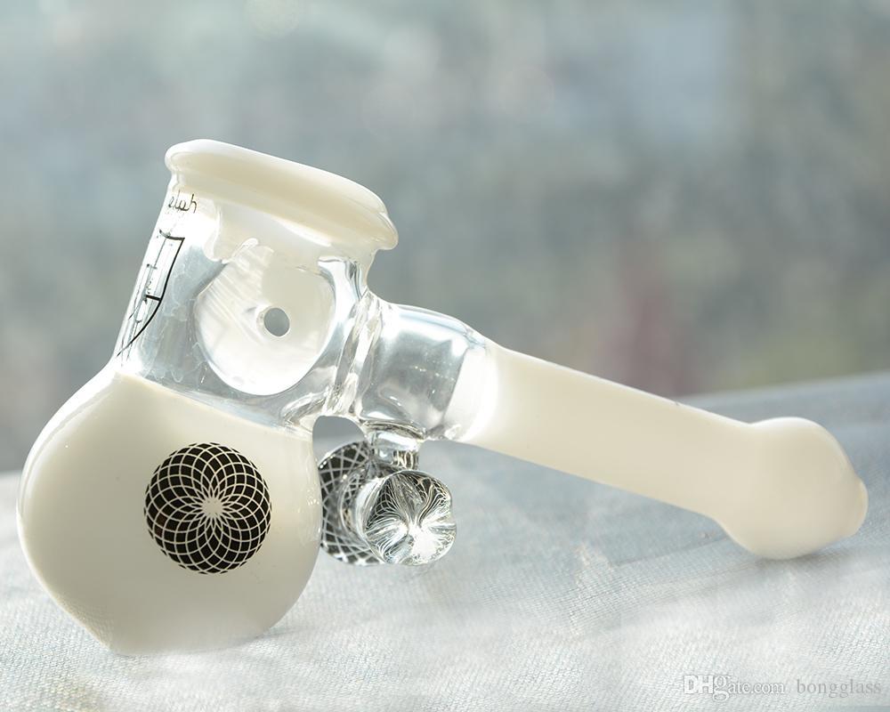 Tubi in vetro spesso Sherlock Mini martello Heavy Wall Glass design maniglia cucchiaio bruciatore a gas fumare erba secca