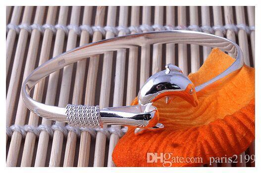 Gioielli accessori moda Bracciale in argento sterling 925 Dolphin Love Legend Open Bangle regolabile Amante formato regalo