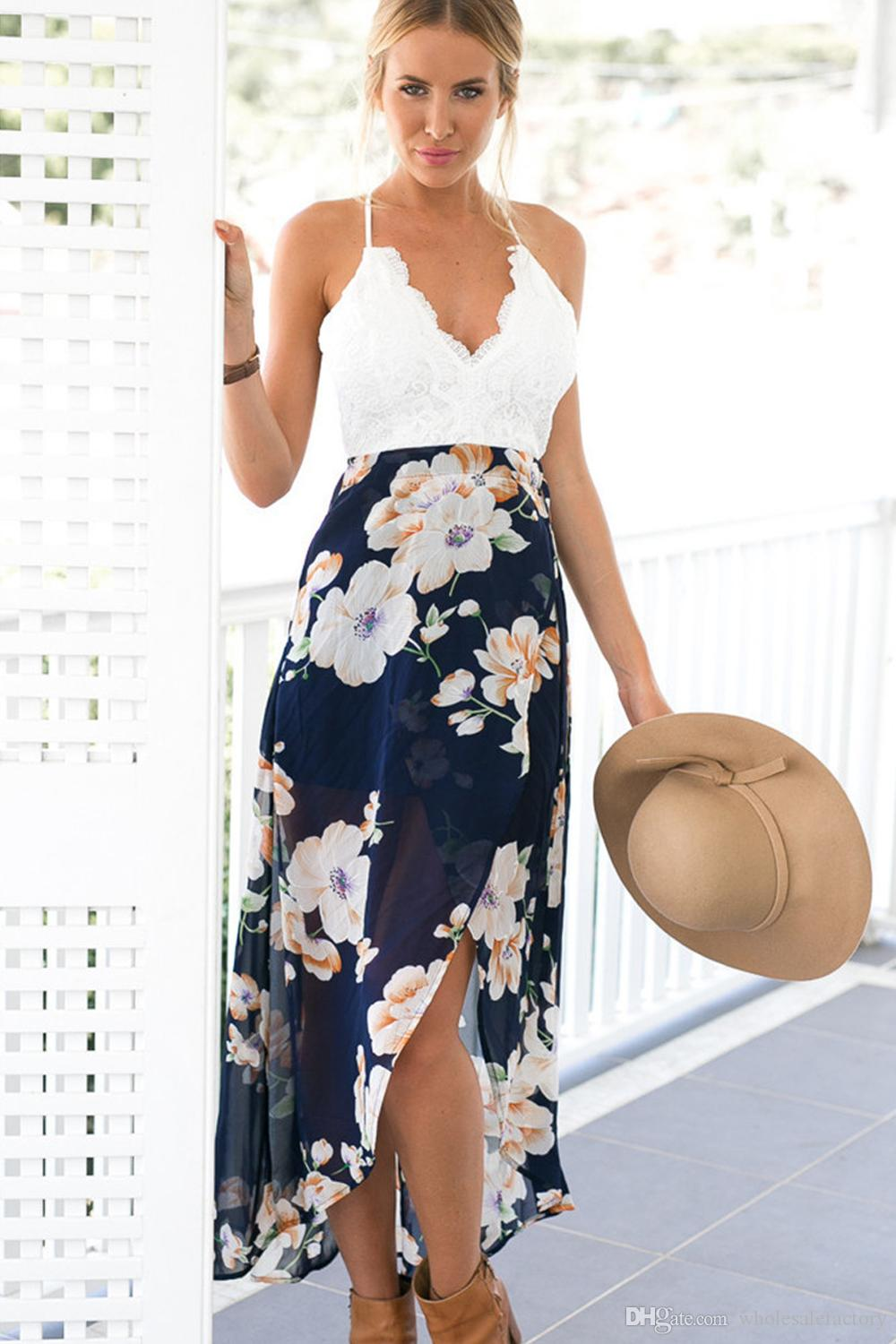 2017 Sexy Casual Boho Summer Long Beach Casual Dresses Printed White Lace Hollow Out Sexy Backless Maxi Dresses Bohemian Party Gowns FS2023