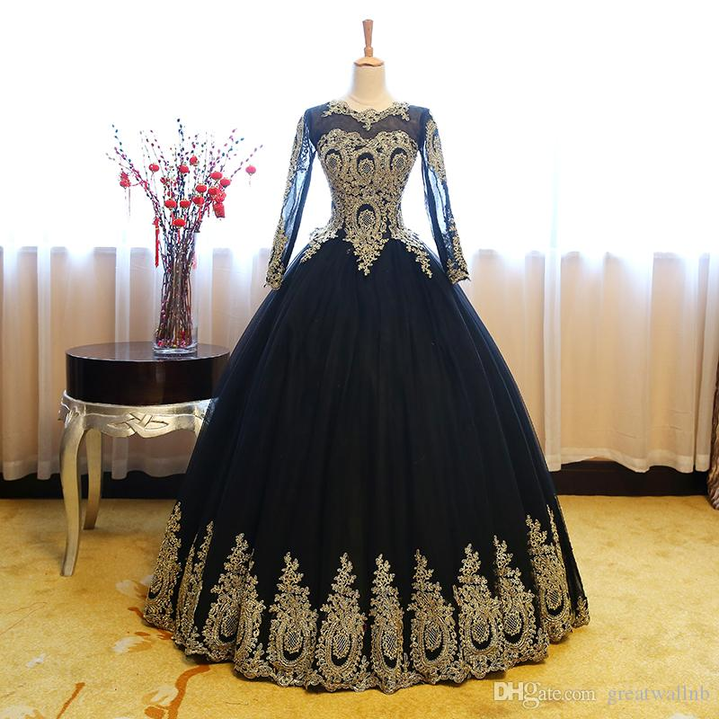 100%real Black Lace Golden Flower Embroidery Ball Gown Medieval ...
