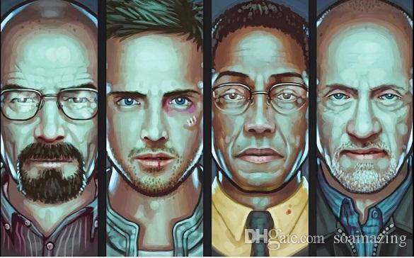 Eingerahmt Breaking Bad Walter White Jesse Pinkman Charaktere Handpainted HD-Druck Porträt Kunst-Ölgemälde auf Leinwand Multi Größen Mv011