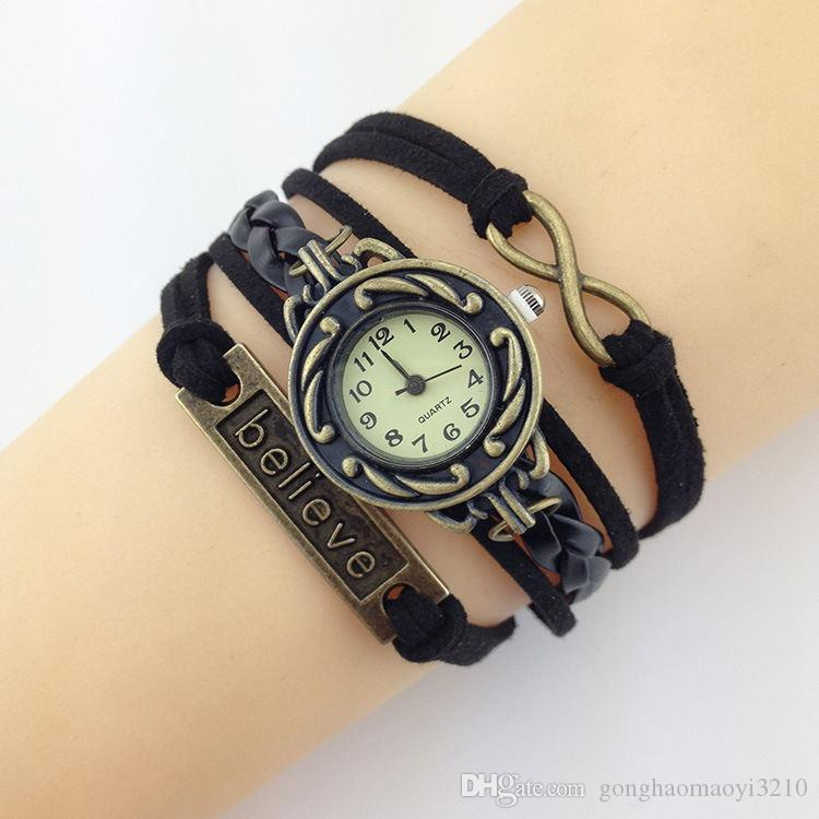 Mixed styles Infinity Love Believe Watches DIY Leather bracelets Wristwatches for Women.Wrap Leather Wristbands watch
