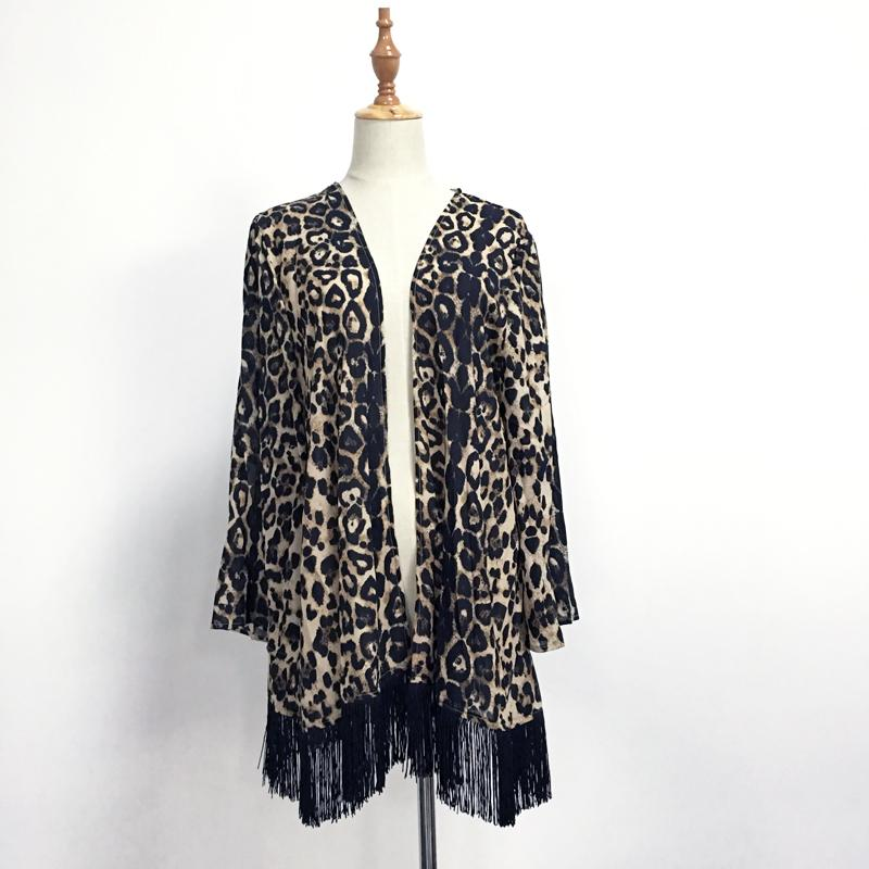 2018 Leopard Chiffon Cardigan Coat Women Spring Summer Coverup ...