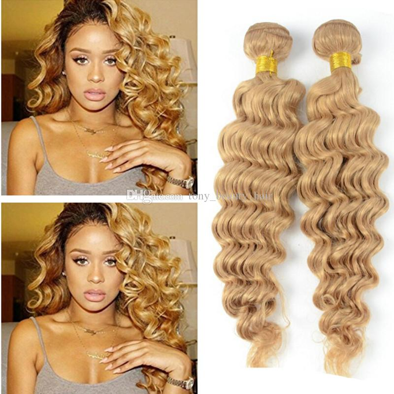 9A Barato # 27 Honey Blonde Russian Deep Wave Extensiones de Cabello Virgen 3 Unids Lot Strawberry Blonde Remy Cabello Humano Weft Trama 3 Ofertas de Bundle