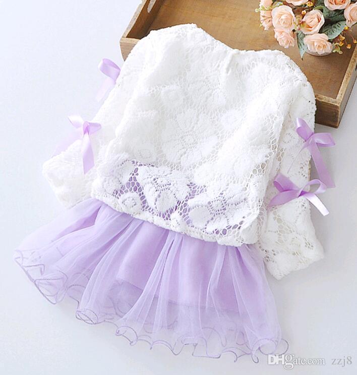Herbst Winter Baby Kleid Set für Mädchen aus reiner Baumwolle gespleißt Baby Röcke Kinder Kleidung Sets Unterkleid und Häkelspitze Großhandel