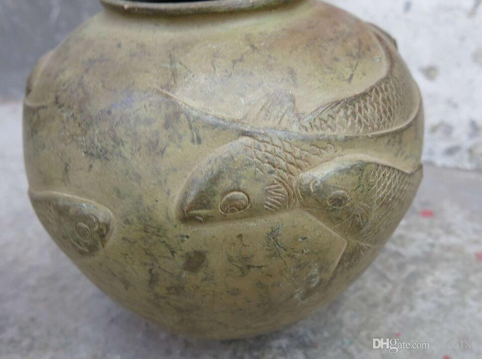 Feine Bronze Vase China Kupfer geschnitzt Glück sieben Fisch Topf Skulptur Statue