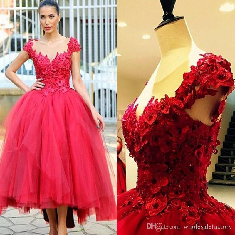 2017 Red Ball Gown Prom Party Dresses 3D Floral Appliques Hi Lo ...