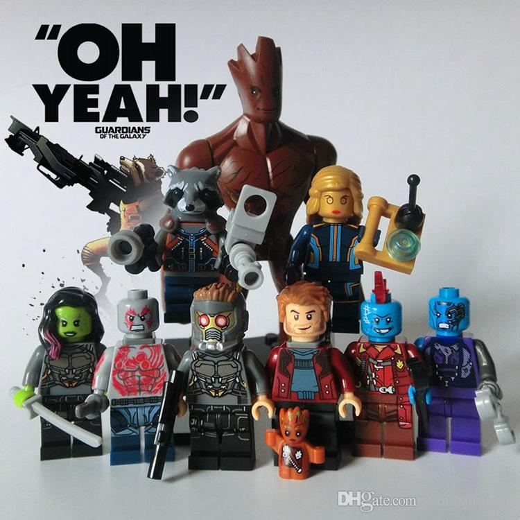 Guardians of the Galaxy Marvel DC Building Blocks Groot Super Heroes Avengers Action Figures ronan camora drax destroyer nebula