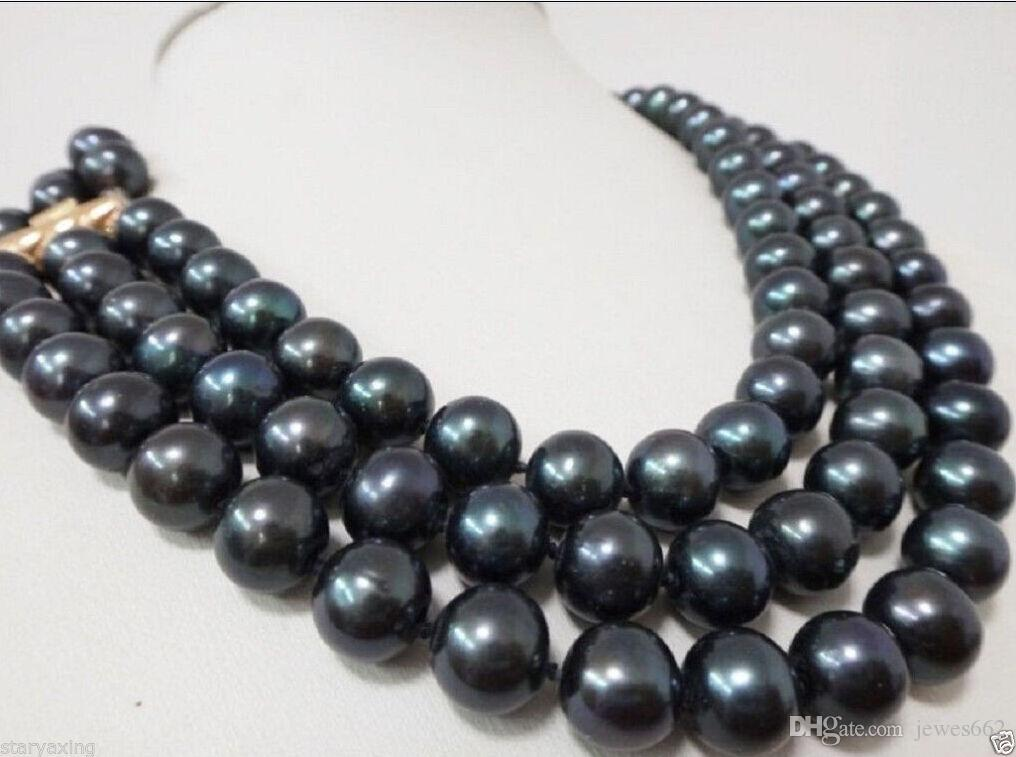 7524b30d2eb3 Compre Envío Gratischarming 3 Fila 9 10mm Aaa Natural Tahitian Negro Perlas  Collar A  49.23 Del Jewes662
