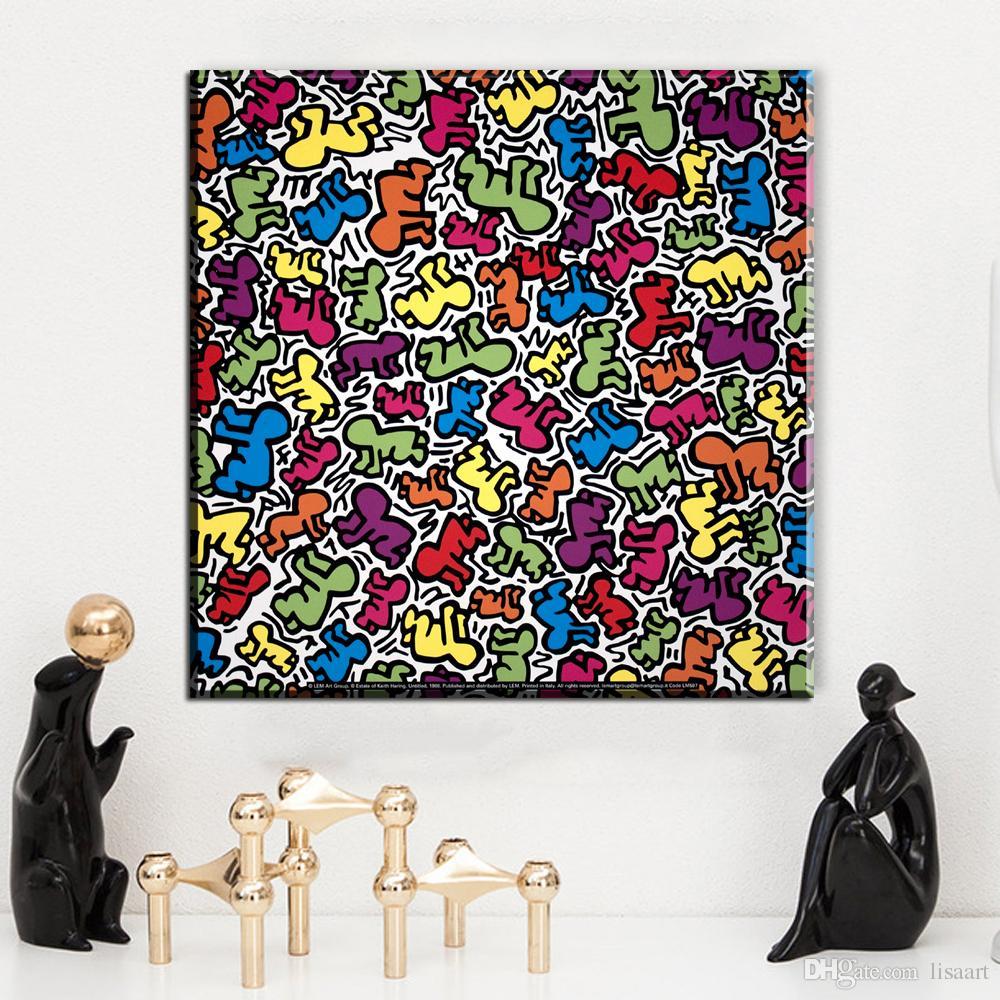 ZZ1385 arte de la lona moderna keith haring lienzo cuadros óleo pintura para sala de estar decoración del dormitorio lienzo sin marco imprime arte