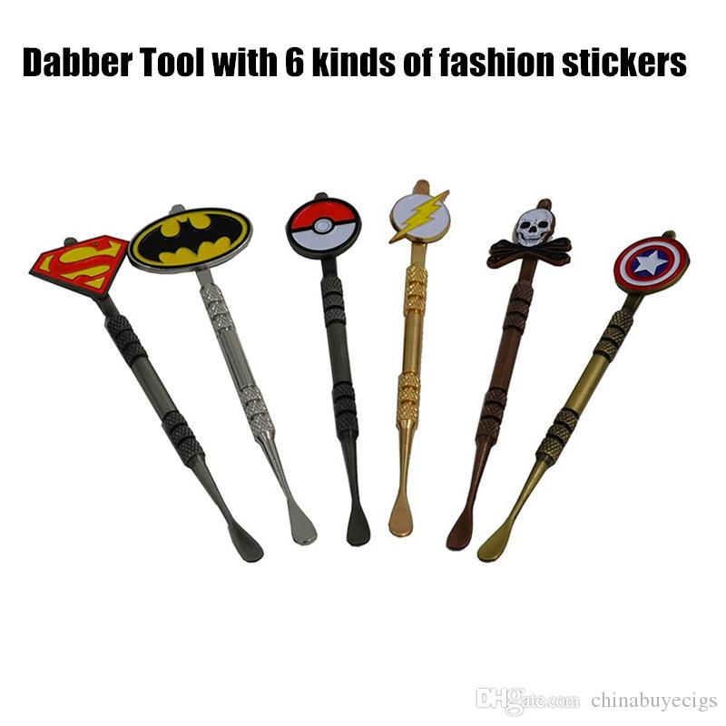 New Arrival 5 colors Dabber tool with fashion deign stickers Pokeball,Batman,Captain,superhero,Flash and Skull wax Dab tool 120mm Jars Tool