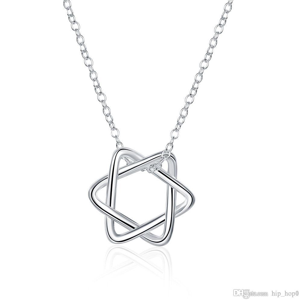 Five star pendant necklace flower pattern charms choker necklace 925 five star pendant necklace flower pattern charms choker necklace 925 sterling silver plated jewelry cute women girl accessories fashion gift silver necklace aloadofball Images