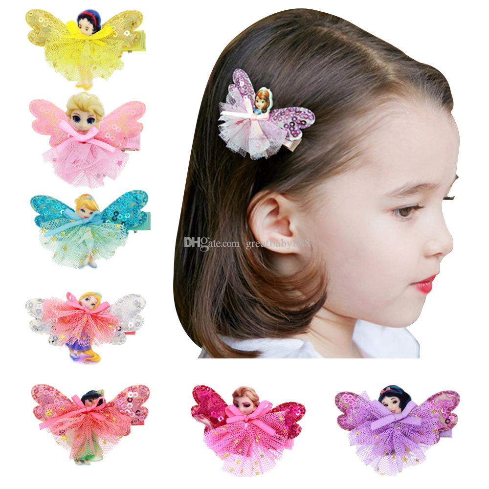 Beautiful baby hair accessories - Girls Fairy Princess Lace Sequins Hairpins Elsa Cinderalla Snow White Butterfly Wings Hair Clips Cute Pretty Baby Hair Accessory C2762 Pink Flower Hair