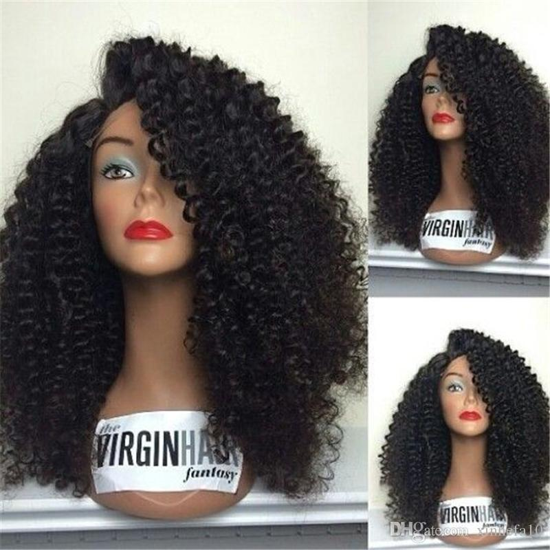Kinky Curly Wig 180% Density Full Lace Wig Human Hair With Baby Hair Middle Part Bleached Knots Malaysian Virgin Hair