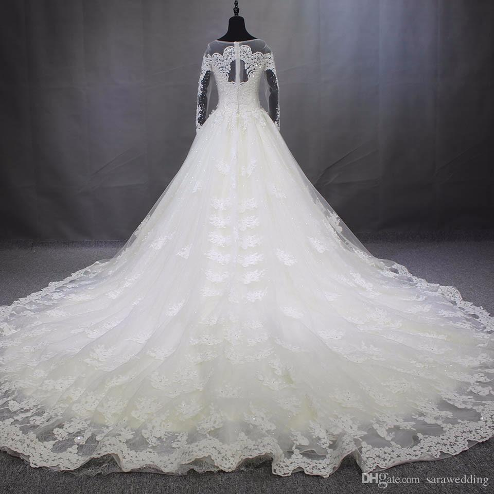 Chapel Train Wedding Dresses New Style Lace Appliques Sequined Graceful Wedding Gowns 2019 Bridal Gown Real Photo