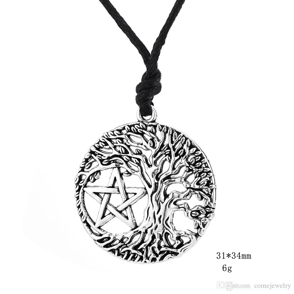 Lastest Style Hexagon Shape Jewelry Viking Runes Talisman Tree of Life Pendant Kabbalah Vintage Necklace