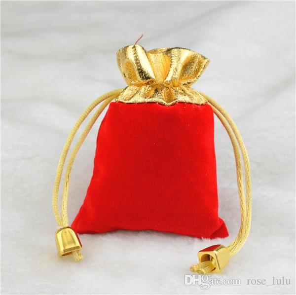 2017 wholesale/ الكثير 2 ألوان 2 مقاسات المخملية مطرز الرباط الحقائب والمجوهرات تغليف هدايا الزفاف هدية عيد أسود أحمر