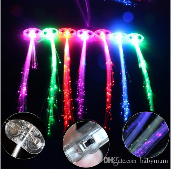 Luminous Light Up LED Hair Extension Flash Braid Party girl Hair Glow by fiber optic For Party Christmas Halloween Night Lights Decoration
