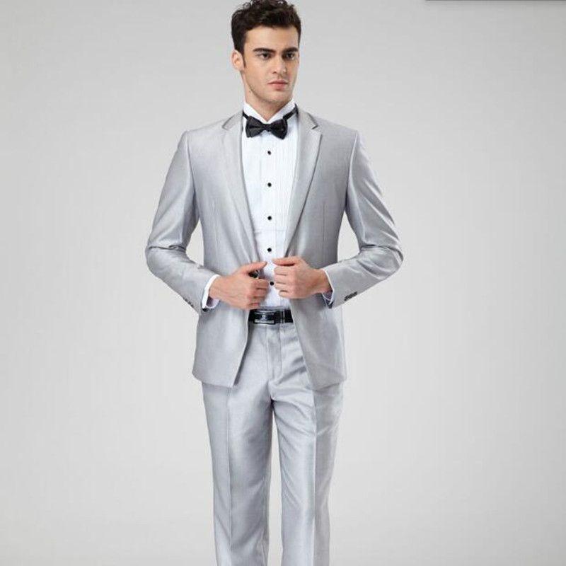 New arrival groom wedding tuxedo suits gray men suits solid color lapel elegant business formal occasions suitsjacket+pants