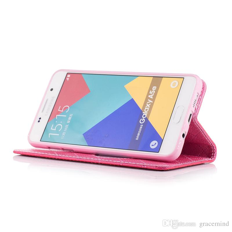 Leather Flip Cover For Samsung J5 J7 A510 A310 Back Stand Holder Credit Card Holder Slot Phone Cases