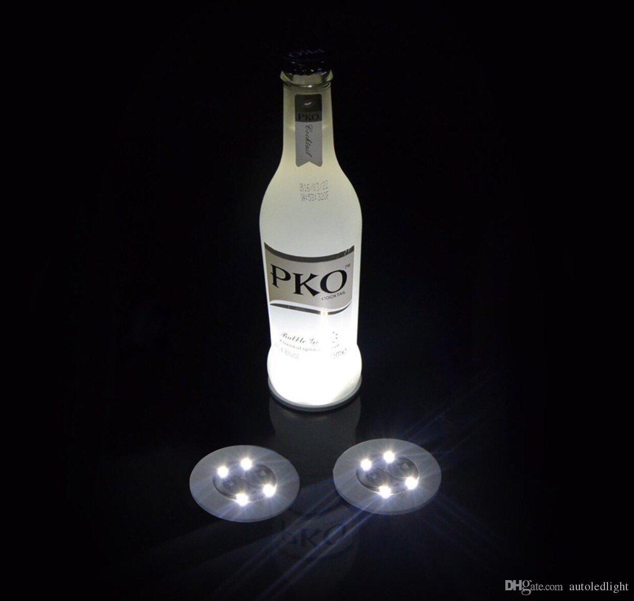 Posavasos LED Bombilla de luz intermitente Botella Cachimba Estera de luz LED Estera de copa Colorida Luz para Club Bar Fiesta en casa