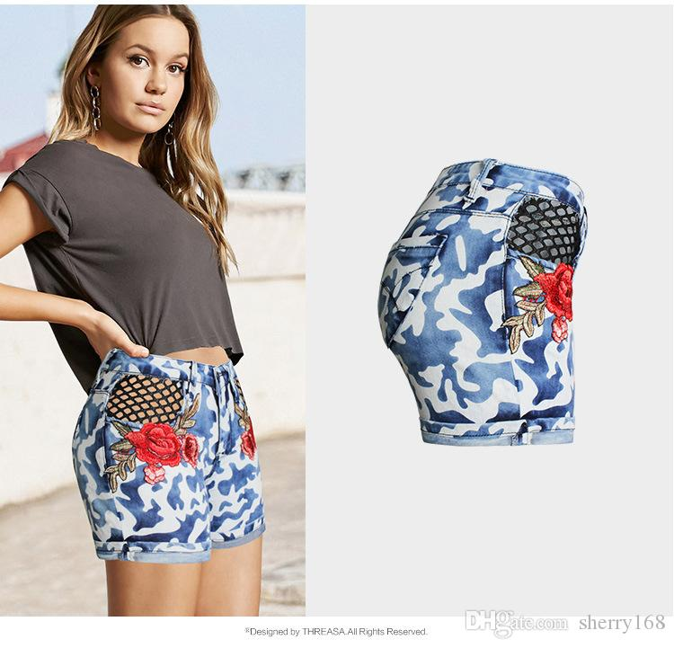 de7835099bd 2019 Ripped Boyfriend Jeans 2017 Summer Fashion Sexy Womens Jeans  Camouflage Net Embroidery Skinny Mid Waist Hollow Out Denim Shorts Plus Size  From ...