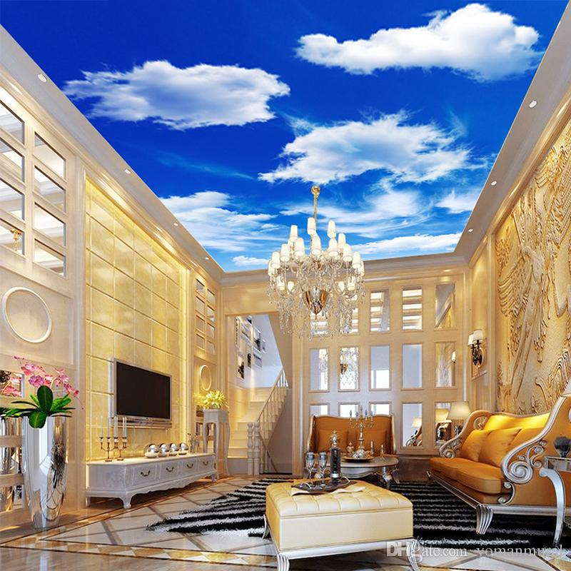 Custom Wall Murals Painting Blue Sky And White Clouds Ceiling Modern
