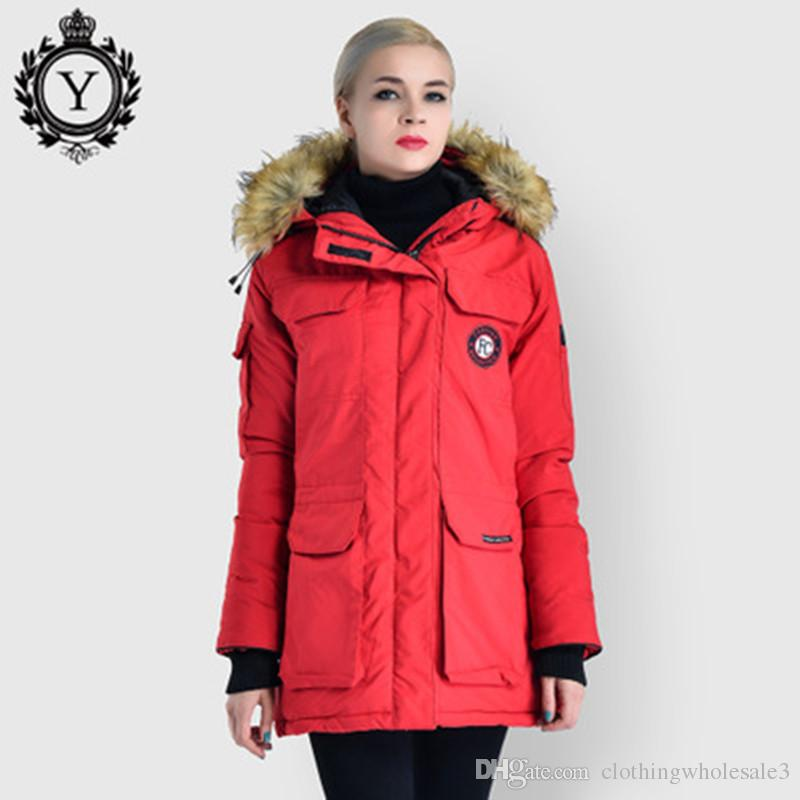 Winter Womens Trench Coats Black with Big Fur Hooded Warm Ladies ...