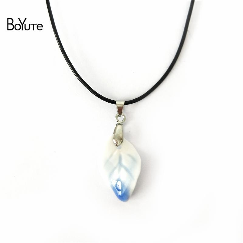 BoYuTe 5Pcs 6 Colors chinese Porcelain Ceramic Leaf Pendant Choker Necklace Women Women's Accessories Independent packing