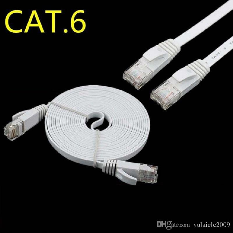 Pure copper connector gold plated plug cat6 RJ45 flat PATCH ETHERNET NETWORK CABLE 2m 6ft 3m 10ft