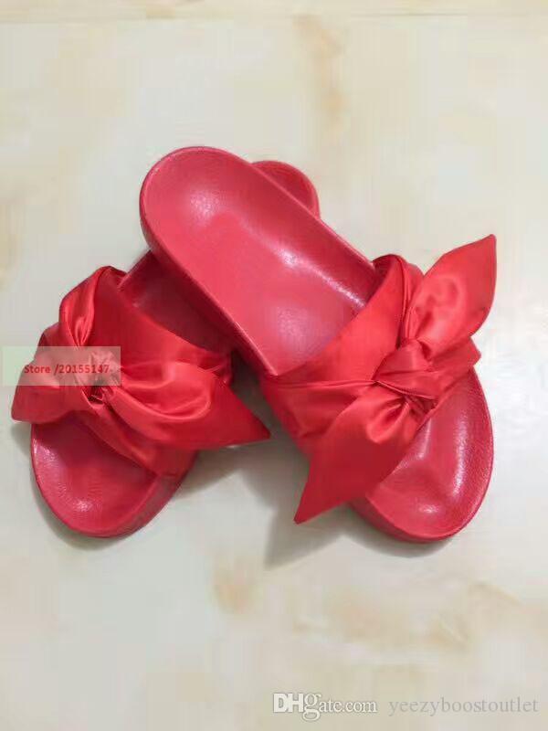 Compre 2017 Rihanna Riri Bandana Bow Deslizamiento Zapatillas, Damas ...