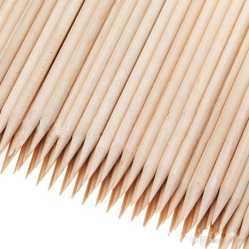Wholesale-100X Nail Art Orange Wood StickS Cuticle Pusher Remover Nail Art Beauty Tool New All wooden nail push