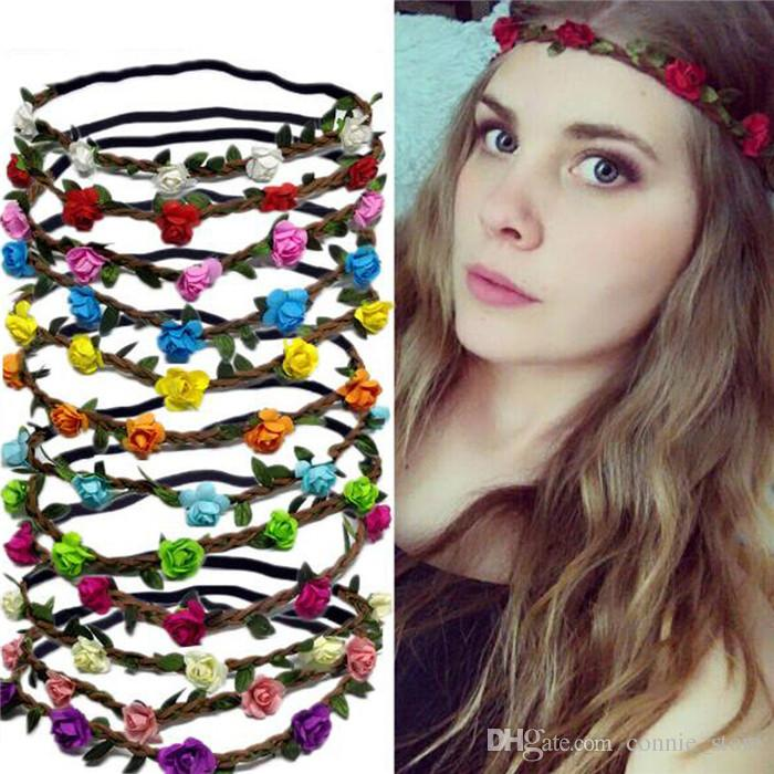 HOT Bohemian Headband Girl Women Flowers Braided Leather Elastic Headwrap  for Ladies Hair Band Assorted Colors Hair Ornaments Hairband JC229 Bohemian  ... d583e8a4a3c9