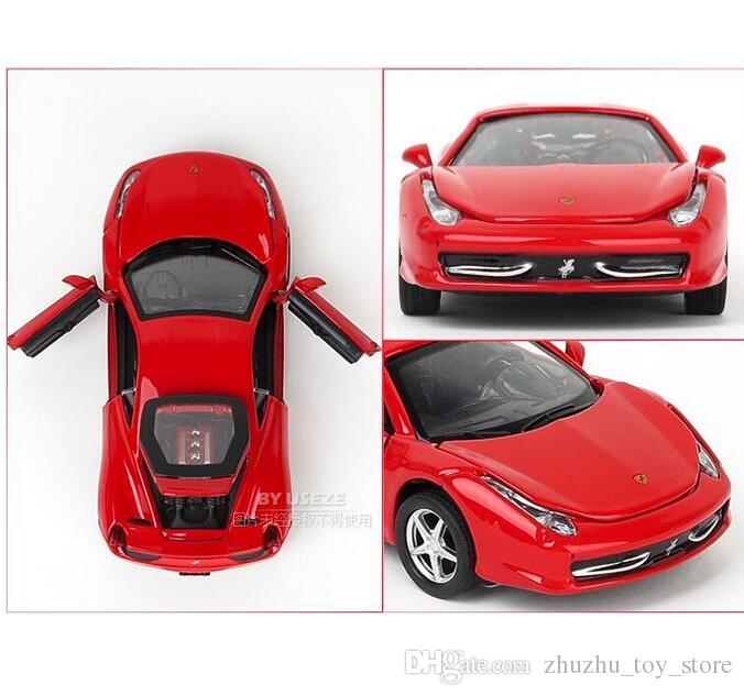 cool 14CM Red Alloy Cars 1:32 F458 Super car Pull Back Diecast Model Toy with light simulation sound Gift toy For Boys Kids