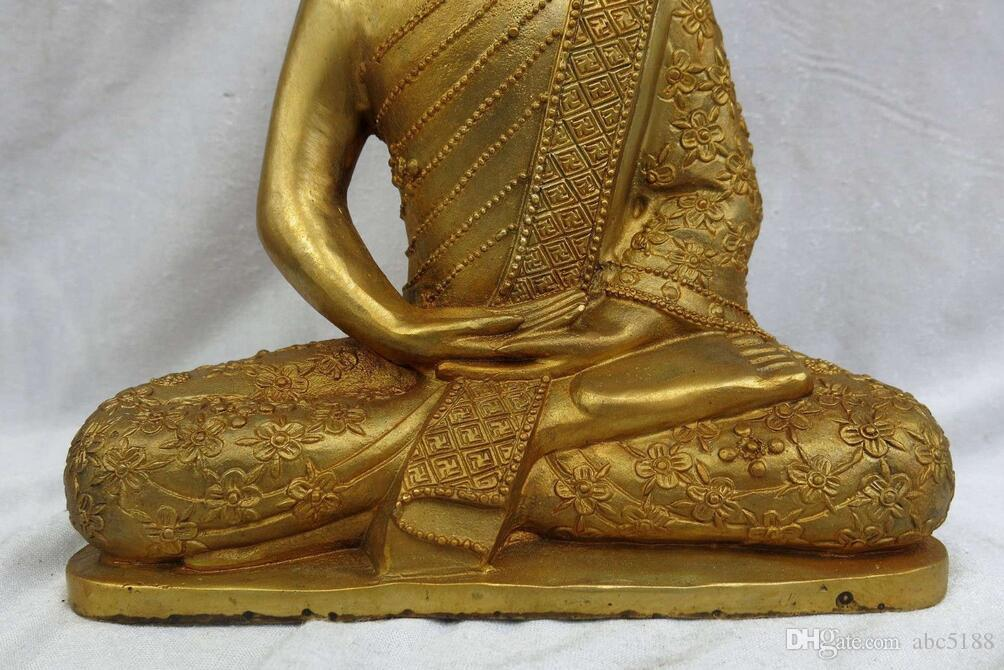 "11"" China bronze gild carved beautiful lucky buddhism buddhs sculpture Statue"
